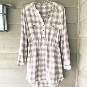 Broadway & Broome Deep Woods Plaid Shirt Dress